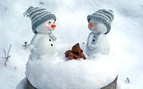 Wallpaper snow, snowmen, caps, nuts, figures