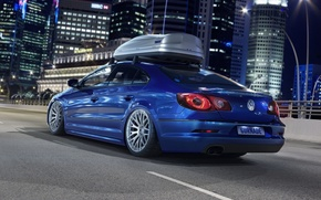 Picture road, car, machine, auto, night, city, the city, lights, lights, building, Volkswagen, blue, road, skyscrapers, ...