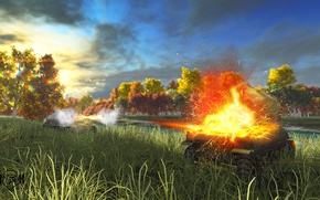 Picture field, the explosion, shot, art, tanks, WoT, Sherman, World of Tanks, Dicker Max, S. T. …