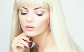 Picture girl, makeup, blonde, girl, manicure, blonde, makeup, manicures