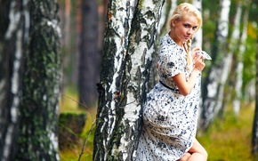Picture Girl, Tree, Forest, Blonde, Model, Day, Beautiful, Standing, Posing, Cutie, Go to, Alena, Birch