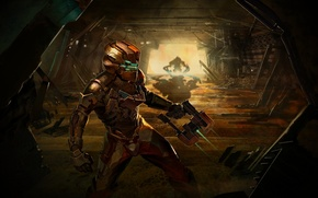 Picture gun, monster, corridor, dead space 2, Isaac