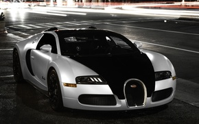 Picture city, Bugatti, veyron, light, white, supercar, black, night