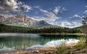 Picture forest, the sky, mountains, clouds, Lake, Lake Patricia Jasper Canada