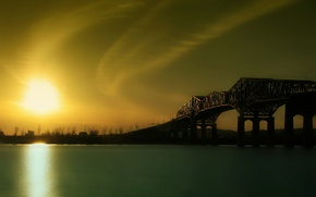 Wallpaper bridge, river, sunrise
