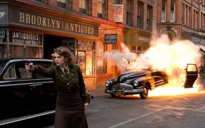 Picture the explosion, gun, fire, street, form, car, The first avenger, Hayley Atwell, Hayley Atwell, Captain …