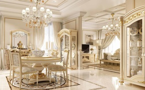 Picture white, table, room, chairs, mirror, chandelier, gold, living room, Interier