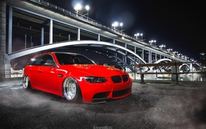 Picture bmw, red, bridge, tuning, power, germany, low, e92, stance