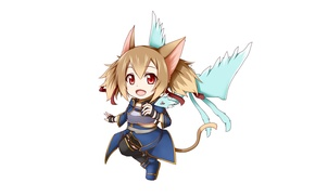Picture ice, game, nothing, anime, chibi, fairy, cat, wings, tail, red eyes, pretty, dragon, asian, cute, …