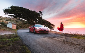 Picture beach, girl, sunset, the wind, dress, Alfa Romeo, Launch Edition, 2015
