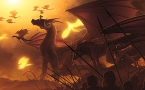 Picture the sky, wolf, dragons, soldiers, Army, Phoenix, Hydra, spears