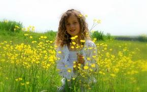 Picture field, look, flowers, pose, hair, hand, teeth, horizon, girl, curls, child