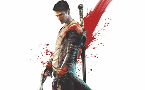 Picture smile, weapons, guns, sword, Mike, cloak, grin, Dante, Dante, DmC, Devil May Cry 5
