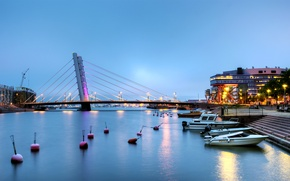 Picture the sky, bridge, lights, river, home, the evening, support, channel