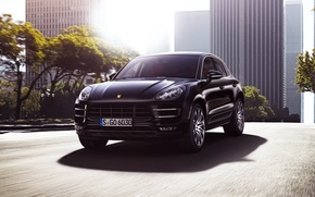 Picture Auto, Road, Black, The city, Porsche, Machine, Light, Lights, Porsche, SUV, The front, Macan