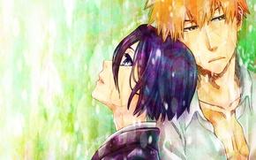 Picture girl, rain, guy, Bleach, Ichigo Kurosaki, Kuchiki Rukia