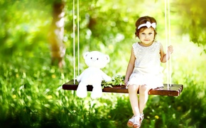 Picture grass, trees, nature, child, bokeh