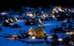 Wallpaper winter, snow, night, lights, home, Japan, the island of Honshu, Gokayama, Shirakawa-go