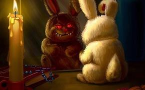 Picture figure, candle, rabbit, evil