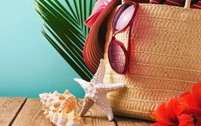 Picture sand, beach, summer, hat, glasses, shell, summer, beach, sand, vacation, starfish, accessories, seashells
