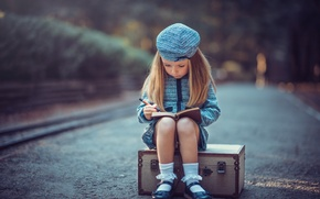 Picture road, girl, suitcase, Young Travelers