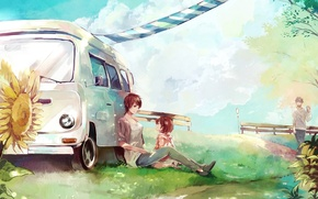 Picture machine, sunflowers, stay, figure, child, family, art, toryufu