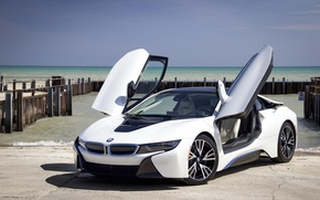Picture sea, coupe, pier, sports car, sports car, BMW i8