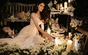Picture girl, flowers, holiday, candles, Fox