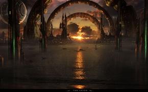 Picture city, sea, the gates