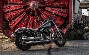 Picture Moto, black, moto, bike, power, motorcycle, classic, american, Harley-Davidson, Slim, Softail, bobber, H-D, v-tvin