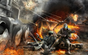 Picture soldiers, tom clancys, war, ghost recon advanced warfighter