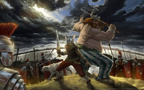 Wallpaper axe, soldiers, Asterix, Legionnaires, the Romans, Obelix, the Gauls, sword, warriors