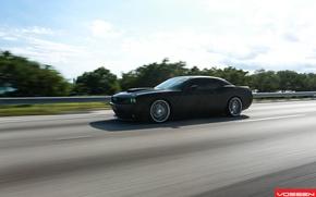 Picture road, machine, auto, asphalt, Dodge, SRT8, Challenger, CVT, Vossen, Wheels