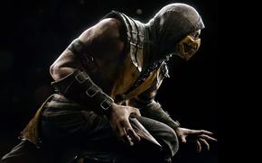 Picture look, mask, hood, fighter, Scorpio, ninja, stand, Warner Bros. Interactive Entertainment, NINJA, Scorpio, NetherRealm Studios, …