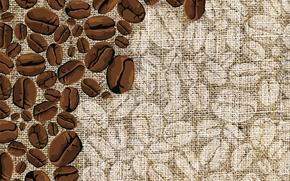 Picture coffee, grain, fabric, burlap, matting