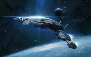 Wallpaper space, ship, planet, space, Normandy, mass effect, normandy, mass effect, sr-2
