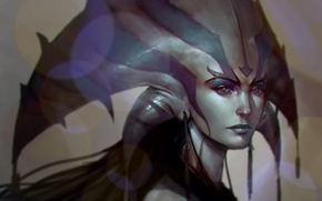 Picture girl, face, art, DOTA 2, Naga