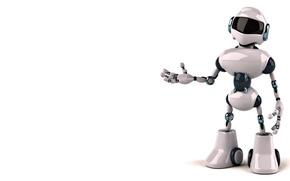 Picture Robot, white background, white helmet