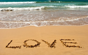 Picture sand, sea, beach, summer, love, mood, the inscription, romance, summer, love, beach, sea, sand, letters, ...