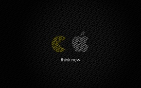 Picture apple, pac-man, think new
