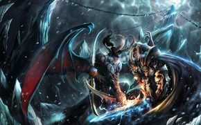 Picture snow, rocks, the demon, art, horns, battle, WarCraft 3, TFT