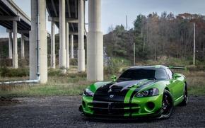 Picture Dodge, Viper, Green, bridge, ACR