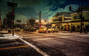 Picture machine, the city, retro, traffic light, toyota, florist, 6th street, red hand, cafe san pedro