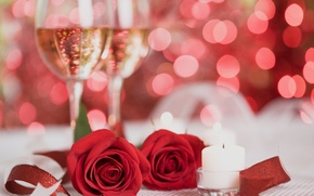 Picture flowers, red, roses, candles, champagne
