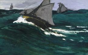 Picture sea, boat, picture, sail, seascape, Claude Monet, Green Wave
