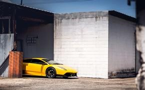 Picture Lamborghini, yellow, Murcielago, adv
