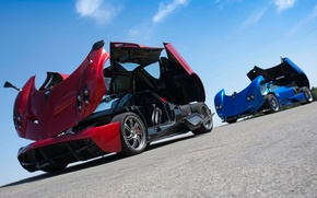 Picture supercars, To huayr, red, Pagani, the front, Pagani, Probe, the sky, Wire, blue, Zonda