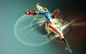 Picture pose, blue, blonde, red, gloves, fist, pussy, supergirl, braids, body shirt also, Street Fighter, Cammy …