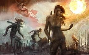Picture girl, the sun, the city, figure, art, guys, skateboard, ivan tao