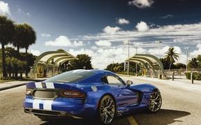 Picture Dodge, Car, Viper, Blue, Sport, Road, SRT